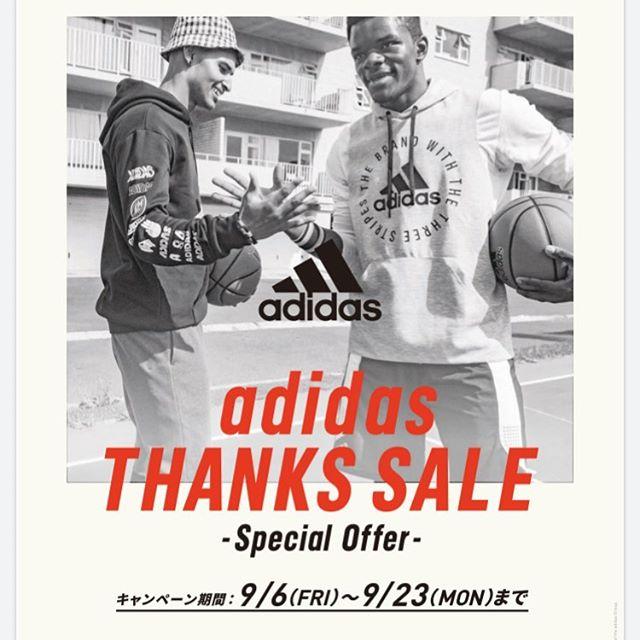.<br /> \ adidas THANKS SALE/<br /> <br /> 9/6(金)~9/23(月)まで<br /> アディダス商品2点以上のおまとめ買い¥5,000円(税込)以上で¥1,000OFFまたは2点以上のおまとめ買い¥10,000以上で¥2,000OFFと期間中シューズやウェアのセット買いがお得です!<br /> 皆様のご来店お待ちしております!<br /> <br /> #abcmartsports #アディダス<br /> #アディダスオリジナルス